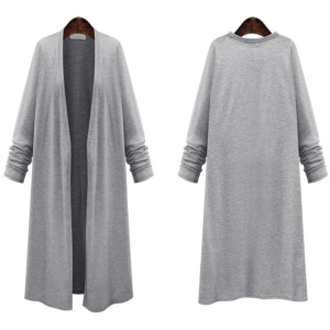 Long Cardigan, Knee Length, Covers Your Buttocks, Large, Thin, All Seasons, Simple, Women's, Body Shape, Covering Size M to 6L, Black, Gray