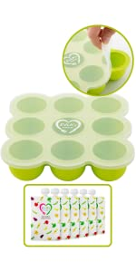 Freezer Tray and Reusable Food Pouches Set