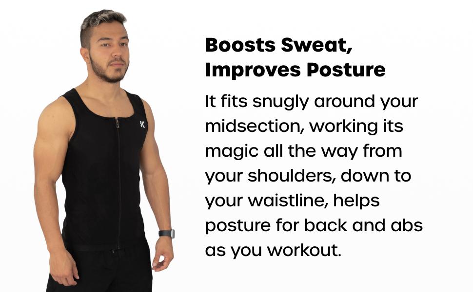 Kewlioo Mens Heat Trapping Zipper Sweat Enhancing Vest