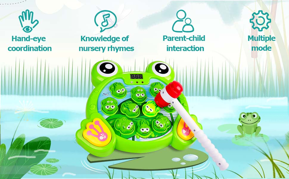 Whack A Frog Interactive Game, Hammering Pounding Toy Activity Game Music Toy