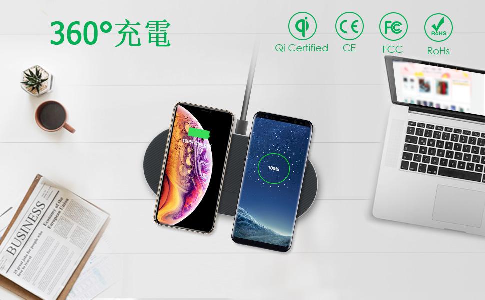 2019年最新版5コイル式デュアル急速ワイヤレス充電器QC 3.0アダプター付き