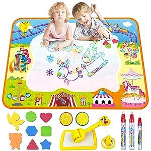 Children Water Drawing Mat 70x100cm Aqua Magic Doodle Board with 2 Magic Pens
