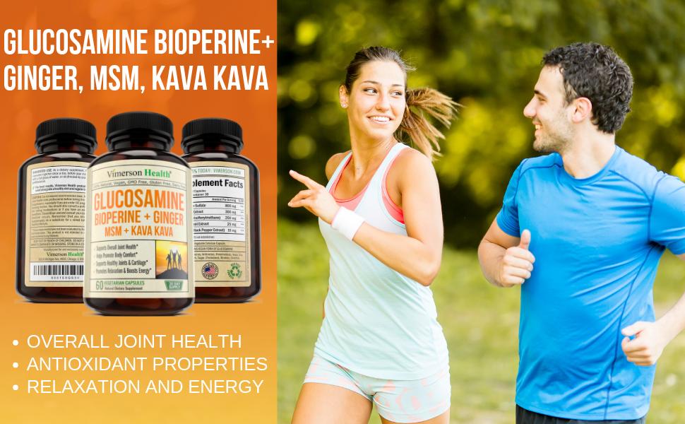 Glucosamine Kava Kava Ginger MSM Bioperine Vimerson Health
