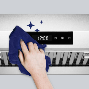 stainless steel range hood with touch screen panel, powerful kitchen fan with digital panel