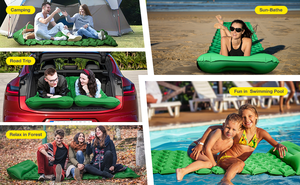 sleeping pad for camping, hiking, maditation, swimming, sun bathe, road trip