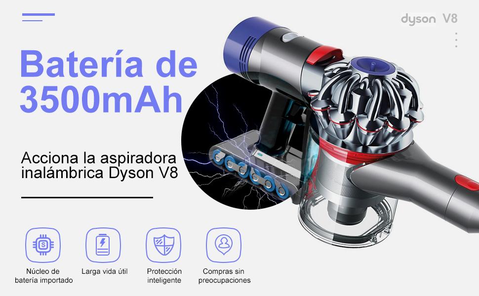 YABER Dyson V8 Batería 3500mAh Batería de Repuesto para Dyson V8 ...