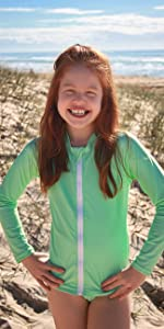 girls longsleeve swimsuit bathing suit sun safe rash vest
