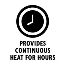 Heats for hours