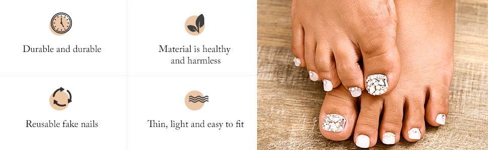 crystal toes false nails
