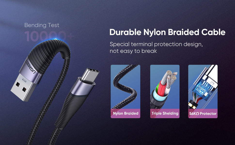 durable nylon braided cable
