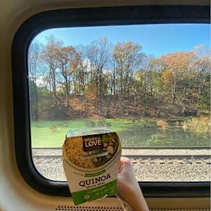 Convenient basil pesto Quinoa Quick Meal train travel