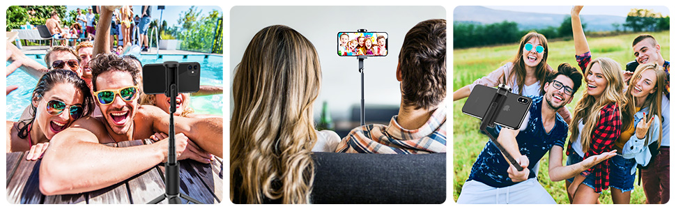 blitzwolf selfie stick tripod with remote for live broadcast video recording watching tv group photo