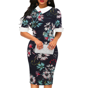 chic elegant floral flare patchwork pencil knee length dress for work party