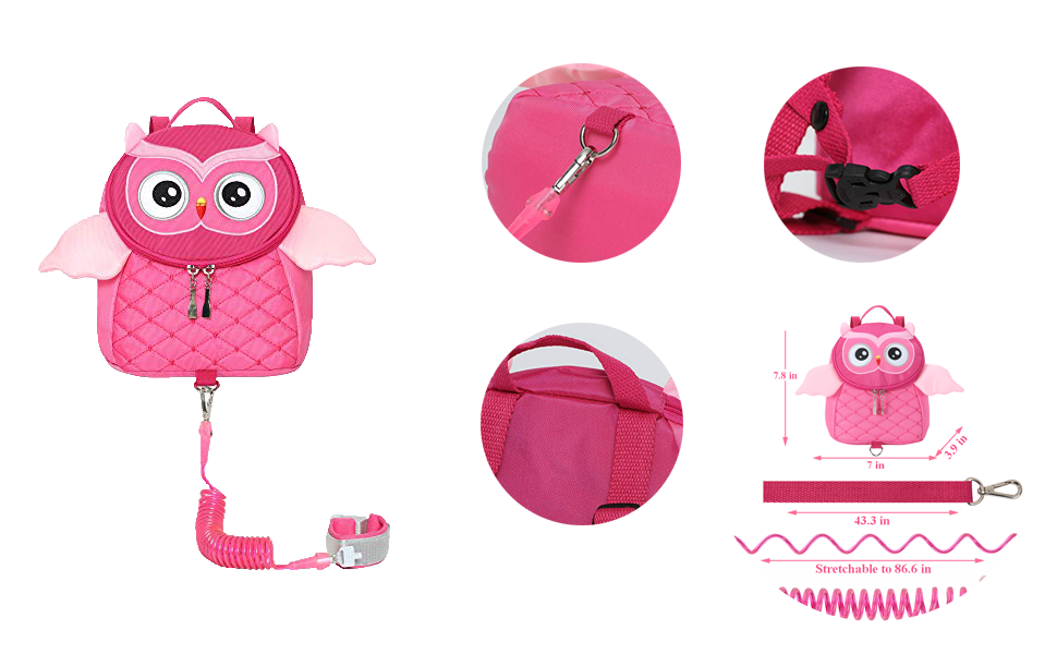 EPLAZA Toddler Leashes Owl-Like Backpacks with Anti Lost Wrist Link Wristband