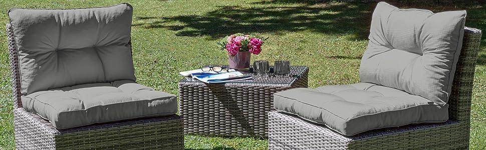 Beautissu Cojines para Muebles de jardín XLuna Lounge sillas de Mimbre de Exterior Asiento Grueso Acolchado Aprox. 60x60x10 cm Gris Grafito
