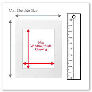 mat outside and inside opening measuring fit print or photo with ruler