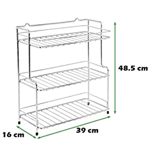 Stainless Steel Spice 2-Tier Trolley Container Organizer Organiser/Basket for Boxes Utensils Dishes