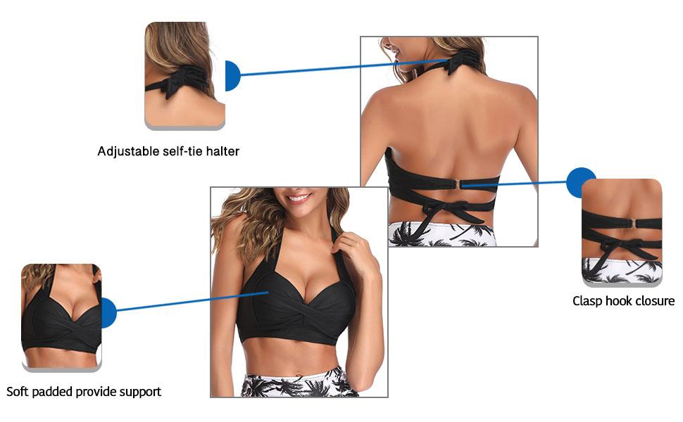 Retro halter push up bikini top