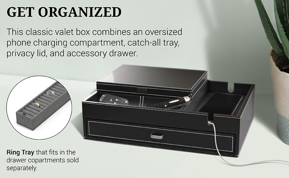 Houndsbay Admiral Black Gray Valet Box - Get Organized
