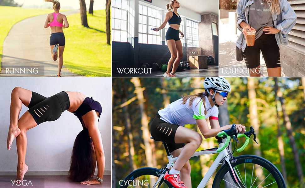 STRETCH BIKER SHORTS FOR RUNNING, WORKOUT, YOGA, LOUNGING AND CYCLING