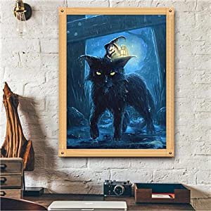 Wizard and Big Cat 12 x 16inch Full Drill Embroidery Diamonds Art Wall Sticker for Halloween Home Wall Decor DIY 5D Diamond Painting