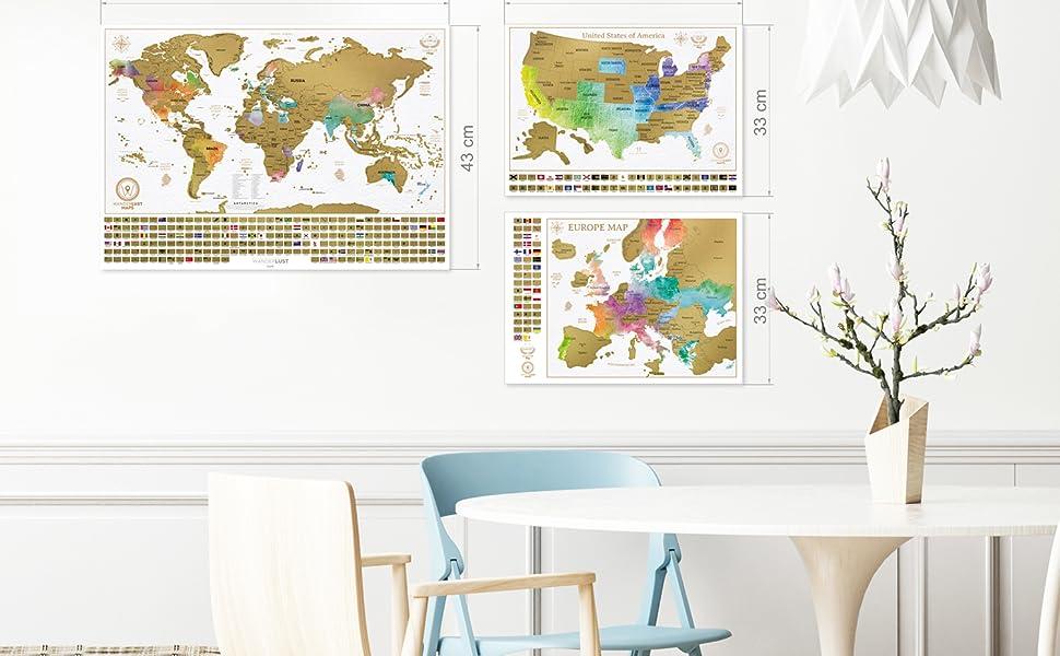 Paquete definitivo de mapa de rascar (mapa del mundo, de los EE. UU. y de Europa) | 3 mapas de rascar de gran calidad con un juego completo de ...