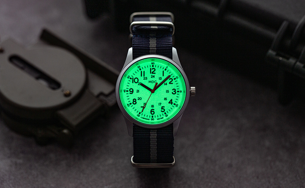 Mens Analog Watch Glow in The Dark Watches Men Military Waterproof Army Field Casual Outdoor 24 Hour
