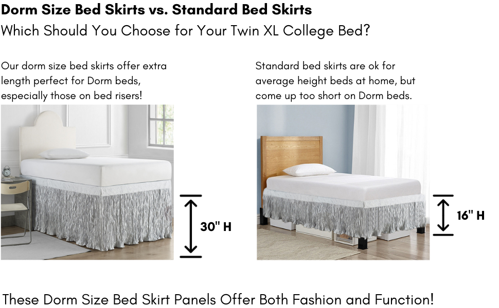 extra long neutral gray bedskirt underbed storage raised lofted bed frame dorm bedding frat house