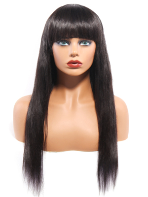 Straight human hair wigs with bangs for Black women