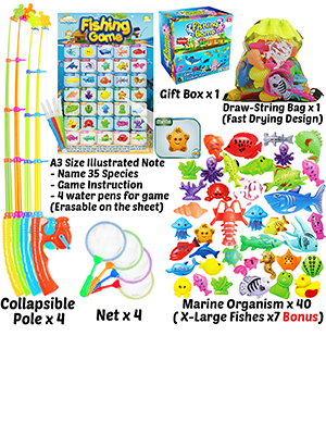 CozyBomB Kids Pool Fishing Toys Games - Summer Magnetic Floating Toy Magnet Pole Rod Fish Net Water