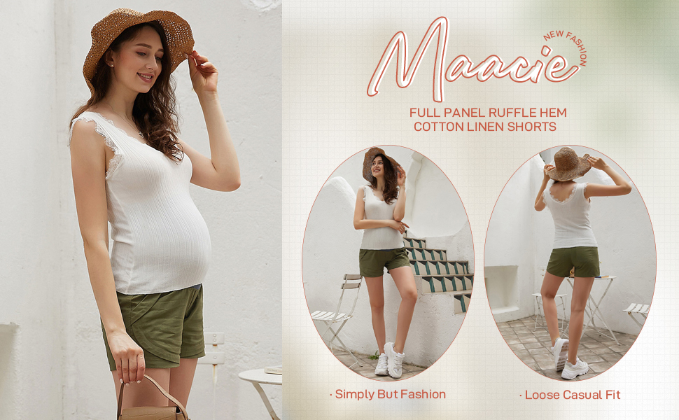 aternity Casual Shorts Ruffle Hem Elastic Waist Cotton Linen Shorts with Pockets