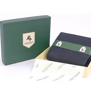 Cuir V/éritable VISCONTI 726 Jet Portefeuille gibeci/ère en Cuir Tanne avec la Protection de fraude de RFID et Le Stylo de Stylet//bo/îte Cadeau//Poche pour Passeport