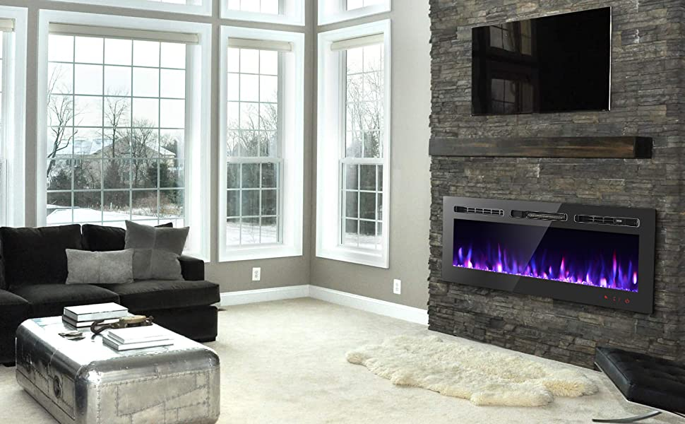 Amazon Com Gmhome 50 Inches Wall Recessed Electric Fireplace Wall