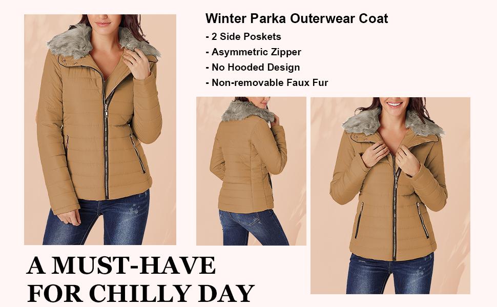 LookbookStore Women Faux Fur Lapel Zip Pockets Quilted Parka Jacket Puffer Coat Solid Outerwear girl