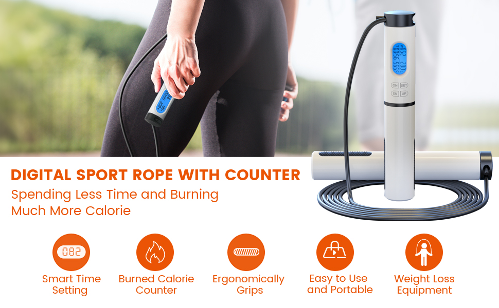Jump Rope maleroads Workout Jumping Rope with Counter for Indoor Outdoor Exercise ropeless rope