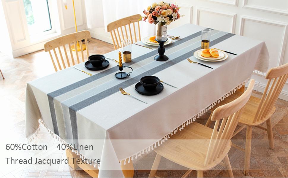 Nappe Rectangulaire Coton Lin Gris Table Cloth Tablecloth Rectangle Table de Cuisine Decoration