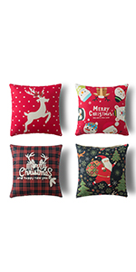 4 pack farmhouse christmas red black buffalo plaids christmas linen pillow cushion cover xmas pillow