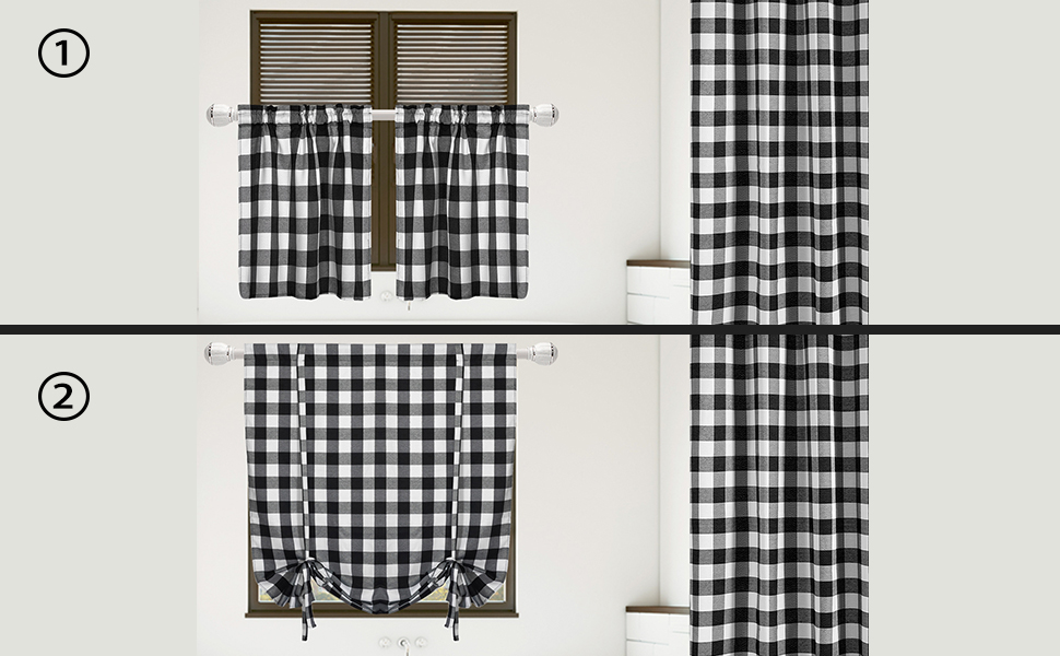 set of bathroom buffalo checker pattern