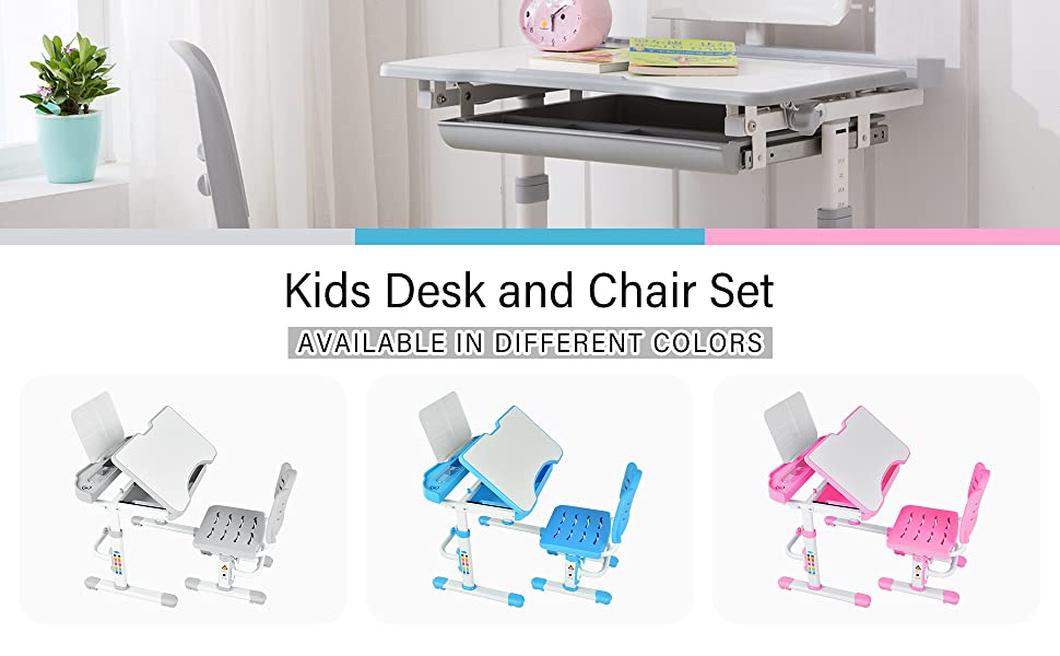 2 - Mecor Kids Desks, Height Adjustable Children Desk And Chair Set,Childs School Student Sturdy Table Without Lamp, Pull Out Drawer Storage,Pencil Case,Bookstand (Grey-1)