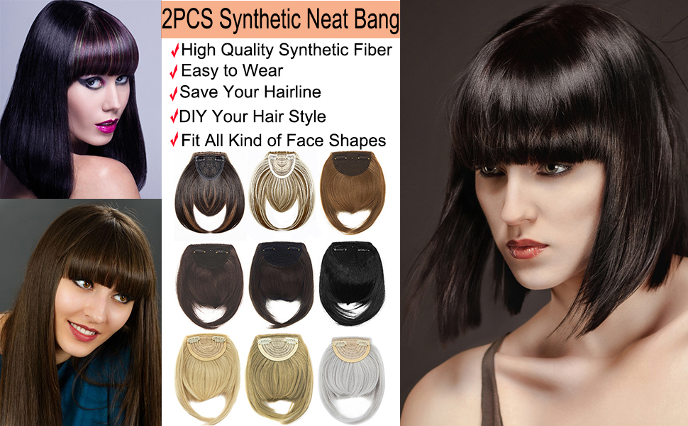 Dodoing 2pcs Clip In Bangs Hair Extensions Human Hair Air Bangs With Temples One Piece Clip On Front Bangs Hairpiece 100 Human Real Hair Fringe Amazon Co Uk Clothing