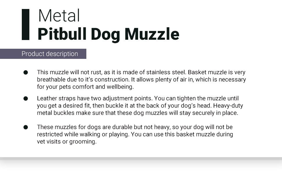 dog muzzle metal agjustable steel large durable sturdy pitbull amstaff basket mask comfortable