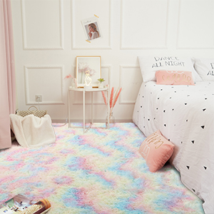 rainbow carpet - Junovo Soft Rainbow Area Rugs For Girls Room, Fluffy Colorful Rugs Cute Floor Carpets Shaggy Playing Mat For Kids Baby Girls Bedroom Nursery Home Decor, 4ft X 6ft