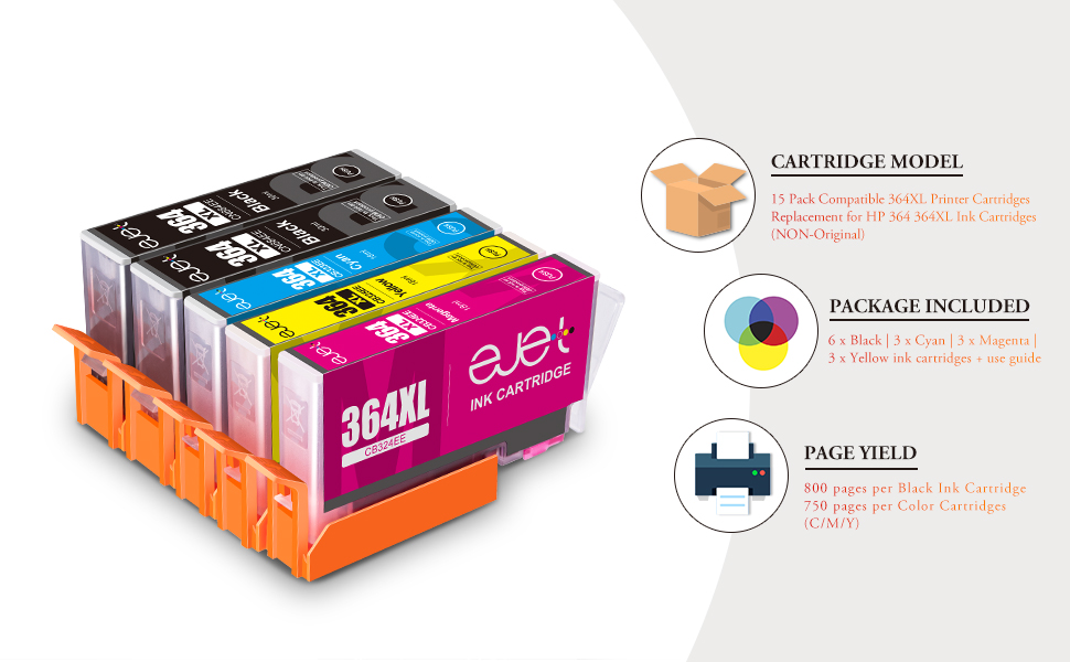 ejet 364XL Compatible ink cartridge replacement for HP 364XL 364 ink cartridges