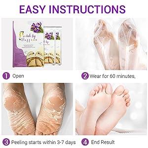 easy instructions: open, wear, peel, end results all shown