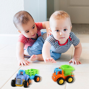 OKPOW Friction Powered Cars, Push and Go Construction Vehicles Toys, 4 PCS Early Educational Toddler