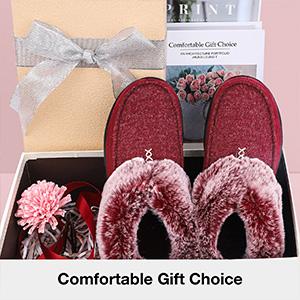Women's Cozy Memory Foam Slippers Fluffy Wool Like Faux Fur Fleece Lined House Shoes