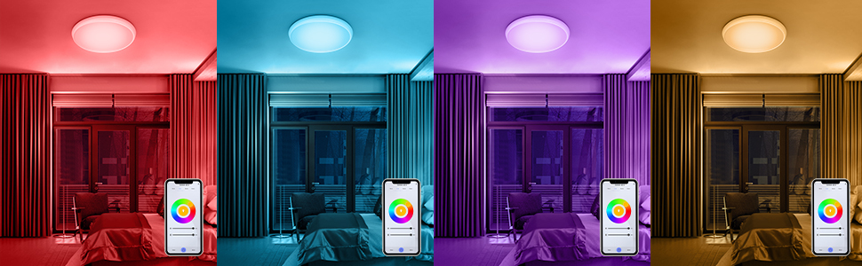 "1  YUNLIGHTS Smart Ceiling Light – Smart Ceiling Light Flush Mount Compatible with Alexa & Google Home, Smart Ceiling Light Flush Mount Wifi with App Control RGB Dimming IP65 Waterproof Timer, 24W & 12"" 8414aa5c b6e8 4910 a63e e0ef990d9c63"