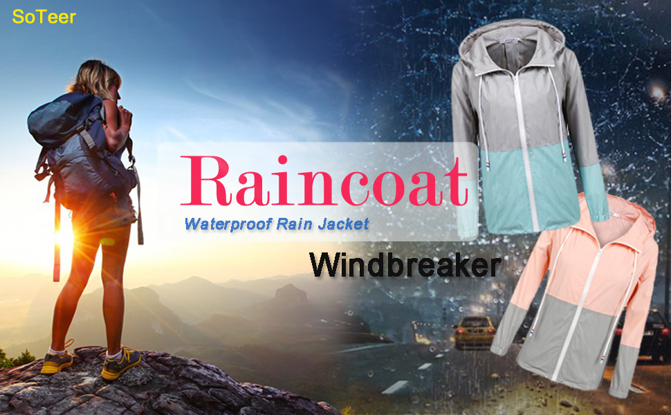 women's raincoat rain jacket with hood outdoor raincoat hiking jacket windbreakers for women