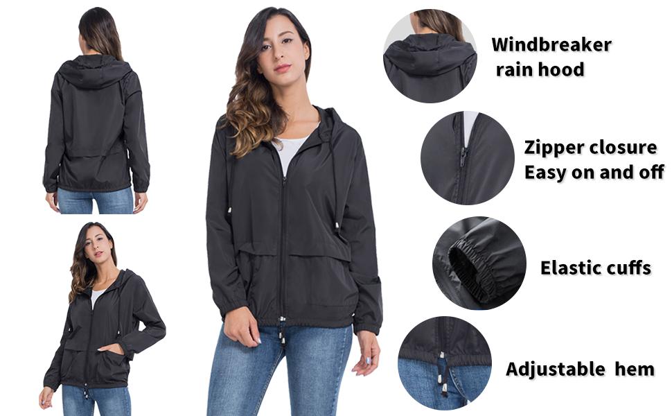 Womens Raincoat Windbreaker Waterproof Lightweight Packable Hooded Rain Jacket