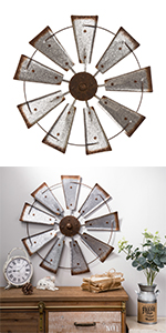 """22""""D Farmhouse Metal Galvanized Wind Spinner Wall Décor"""